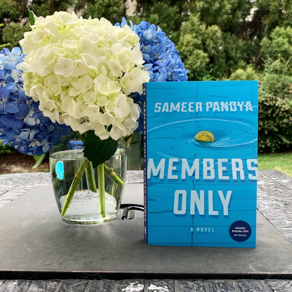 Members Only book with blue and white hydrangeas