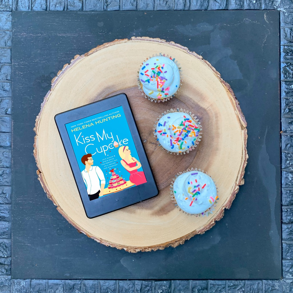 Kiss My Cupcake by Helena Hunting book on Kindle with three cupcakes
