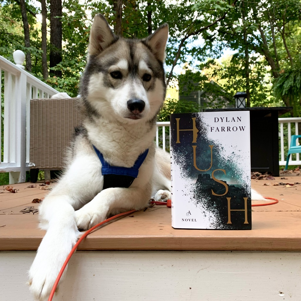 Hush hardcover by Dylan Farrow with Siberian Husky