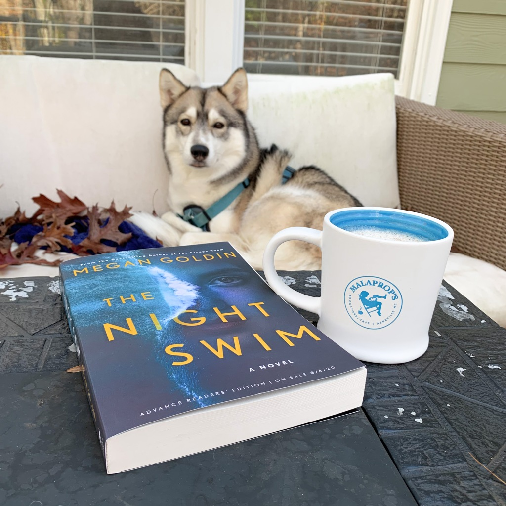 Paperback of The Night Swim with Malaprops mug and husky