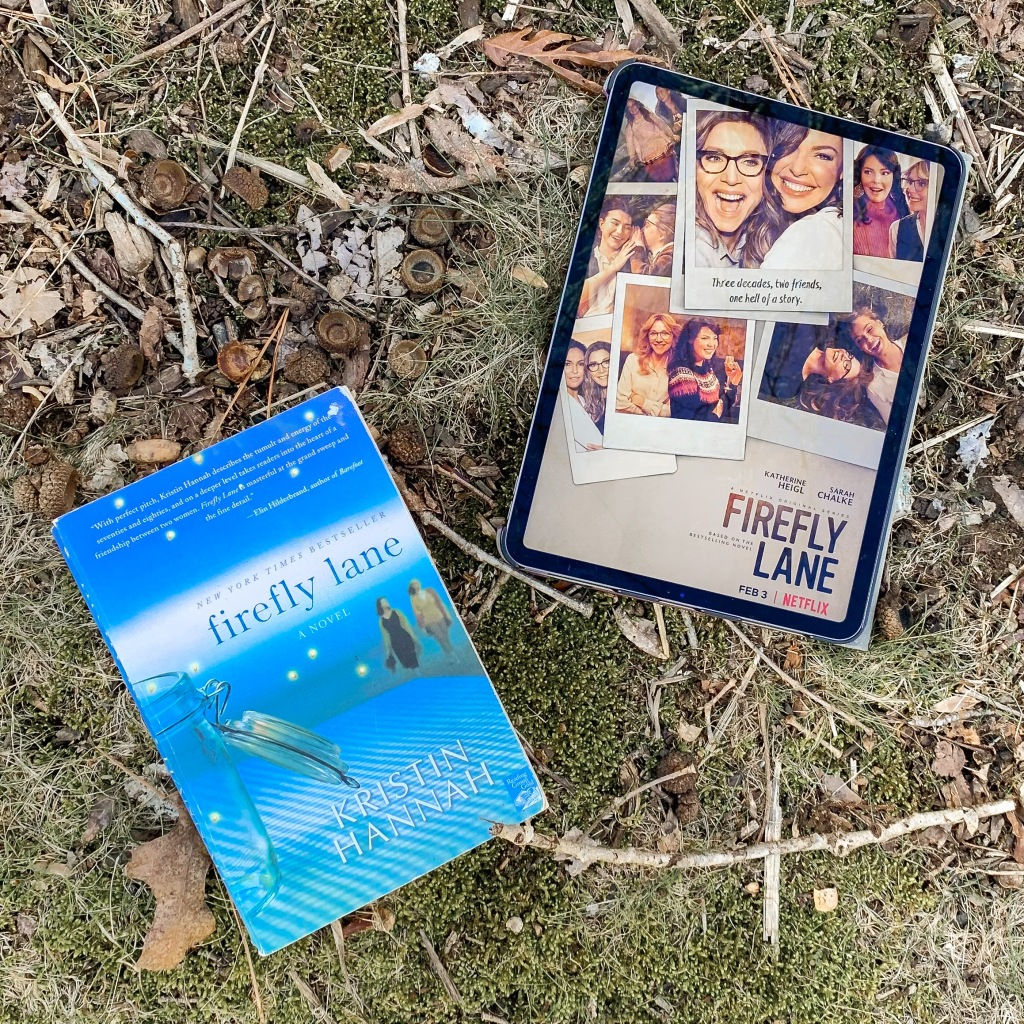 Photo of paperback copy of Firefly Lane by Kristin Hannah, and an iPad showing show poster of Netflix show