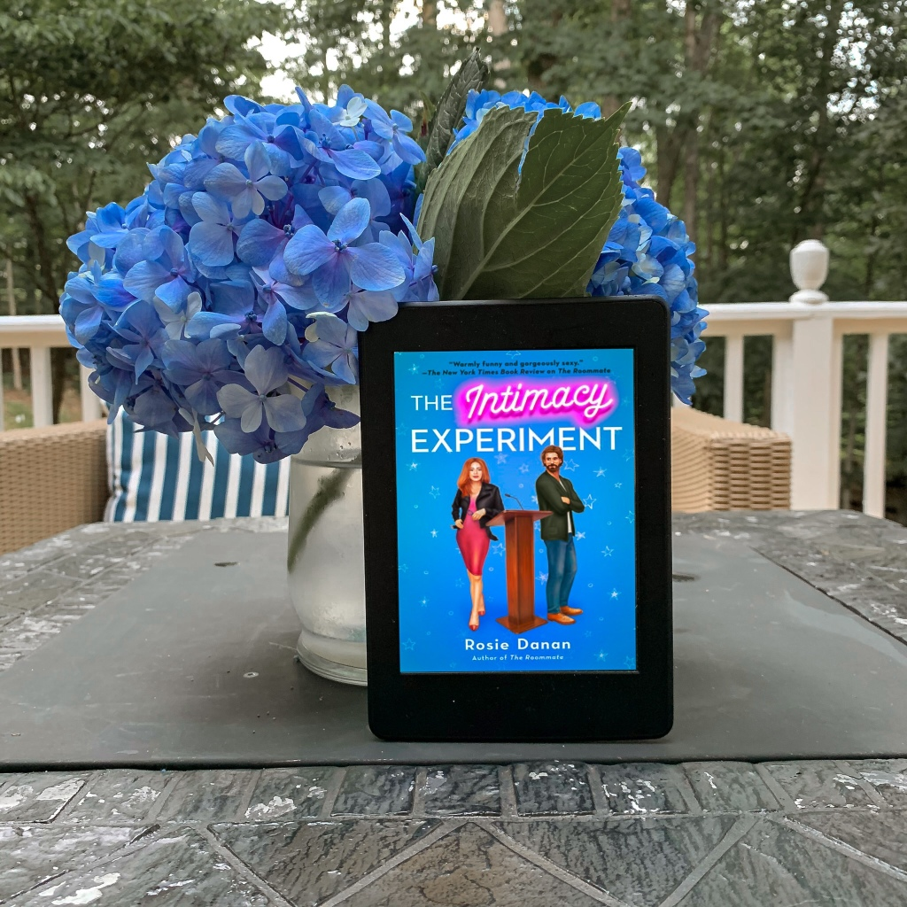 The Intimacy Experiment by Rosie Danan ebook on Kindle with blue hydrangeas