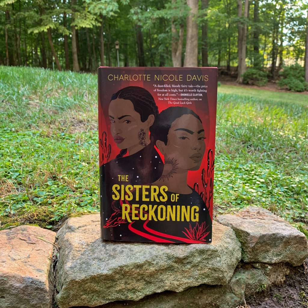 Photo of Charlotte Nicole Davis' The Sisters of Reckoning, hardcover book on stone
